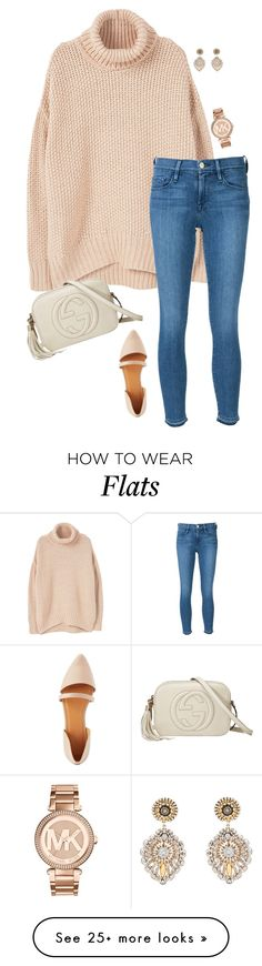 """""""Untitled #385"""" by annakhowton on Polyvore featuring MANGO, Frame Denim, Charlotte Russe, Miguel Ases, Gucci and Michael Kors"""