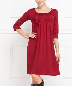 This Burgundy Pleated Bodice Three-Quarter Sleeve Dress by Reborn Collection is perfect! #zulilyfinds