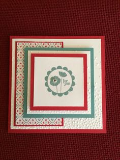 Real red and lost lagoon card stock (stamping up ) and punch bunch stamp set.