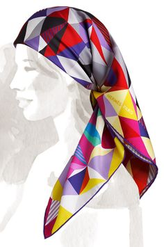 Hermes - Les Faceties de Pagase, multi-coloured silk scarf, tied as a headscarf.