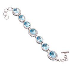 Blue Topaz Bracelet with american diamonds in sterling silver. Imperial Topaz, London Blue, Blue Topaz, Diy Design, Diamonds, Bangles, Jewels, Gemstones, Jewellery