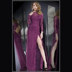 Dear-lover, wholesale High Slit Lace Overlay Hollow out Purple Maxi Dress - Maxi Dresses Purple Evening Dress, Lace Evening Gowns, Long Sleeve Evening Dresses, Prom Dresses Long With Sleeves, Cheap Evening Dresses, Mermaid Prom Dresses Lace, Prom Party Dresses, Prom Gowns, Dress Party