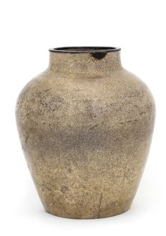 Satsuma ware jar, White Satsuma type  1650-1750      Edo period     Stoneware with clear, colorless glaze, stained by subsequent treatment; rim repaired with silver band  H: 21.5 W: 18.5 cm   Japan