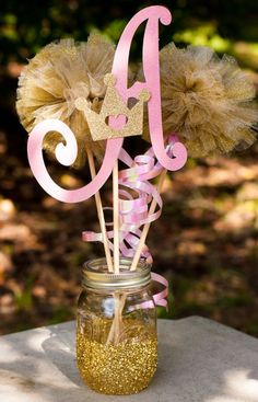 Princess Birthday Party Baby Shower Initial Pink And Gold Girl Centerpiece Table Decoration By GracesGardens On Etsy
