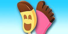 Το παγωτό – πατούσα (φοβερή έμπνευση) και το αντίστοιχου σχήματος παγωτό μπανάνα.
