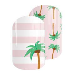 Sunset Ave Jamberry, nail wraps, no dry time!  Palm Tree nails!!  Buy 3 get 1 FREE!! islandjam.jamberry.com