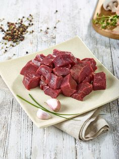 Buy Diced beef from Premier Gourmet Foods 01424 Buy diced beef steak online & other fresh British organic meat from online beef butchers Raw Food Recipes, Meat Recipes, Gourmet Recipes, Beef Ribs, Beef Steak, Stewing Steak, Steak Dishes, Food Menu Design, Meat Shop