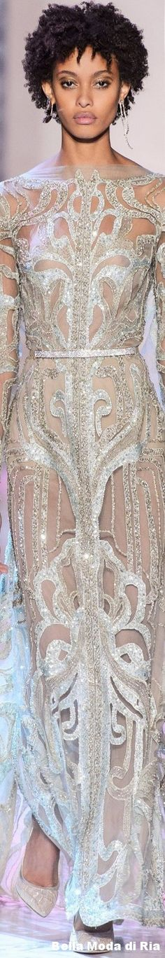 ELIE SAAB Spring 2018 COUTURE / sheer and sequin embellishment detail