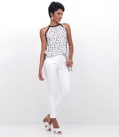 decb817e47 Blusa feminina Poá Sem manga Marca  Cortelle Tecido  crepe Modelo veste  tamanho  P