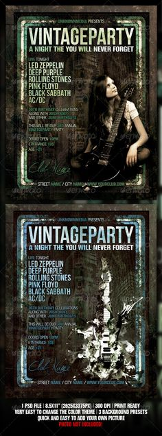 Vintage / Retro Night Club Party / Concert Flyer — Photoshop PSD #print #green • Available here → https://graphicriver.net/item/vintage-retro-night-club-party-concert-flyer/506150?ref=pxcr