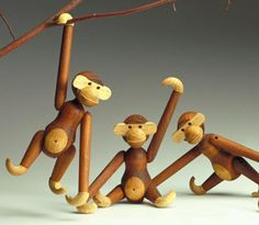 Wooden Toy Monkey, by Kay Bojesen. Made of solid teak and limba
