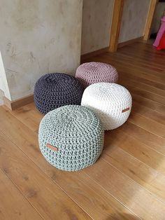 Light pale lilac Poufs for baby room - Footstool Pouf - Bean Bag Chairs- Crochet Floor Cushions - Kids Furniture - Home Decor - Ottoman Crochet Pouf/Ottoman for a cozy living room or kids room. Poufs are great to use as floor pillows, as footstool, night table or as an extra seat. Made out of firm rope which has very pleasant feel, robust pattern and great durability. Made of polyester rope so does not attract dust and the color does not fade. You can modify the shape and softness by st...