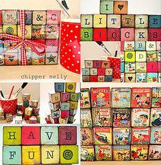 "1"" vintage nursery wooden blocks"
