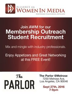 Hey students and Professors! Come join Alliance for Women in Media, Southern California Affiliate for our free student recruitment mixer on Sept 27th! We're gonna be talking about scholarships, internships, and mentoring opportunities for students who want to pursue a career in media. Register now! http://awmsocal.org/event-2336815 #awmsocal