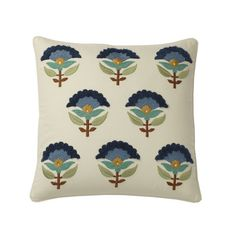 Blue Foulard Embroidered Pillow Covers | The Company Store