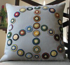 Designer Pillow  Handmade Peace Pillow cushion by NestleAndSoar, $95.00