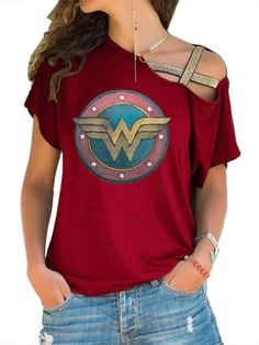 Wonder Woman Off-The-ShoulderT-shirt – amyclothYou can find Wonder woman and more on our website.Wonder Woman Off-The-ShoulderT-shirt – amycloth Wonder Woman Outfit, Wonder Woman Shirt, Wonder Woman Logo, Wonder Woman Birthday, Wonder Woman Party, Female Profile, Cute Outfits, Work Outfits, T Shirts For Women