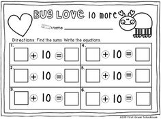 Bug Love printable in Valentine's Day Math Centers First Grade by First Grade Schoolhouse. $ 8 MATH CENTERS with a Valentine's Day