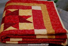 Pink Polka Dot Creations:  Red and Yellow Quilt