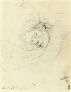 Obviously a sketch of Helga, his muse. Andrew Wyeth Asleep, 1979 Graphite pencil on paper, signed at lower left, Andrew Wyeth 14 x 11 inches x 280 mm) Andrew Wyeth Art, Jamie Wyeth, Jackson Pollock, Life Drawing, Drawing Sketches, Graphite Drawings, Nc Wyeth, Robert Motherwell, Richard Diebenkorn