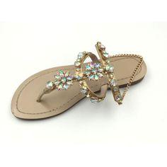 2cbb6622022d Fashion Beach Sandals Women Summer Rhinestone Slippers Flat heel Slides  Flip Flops Flip Flop Sandals