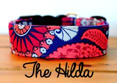 """Girly Coral Red Pink and Navy Medallion Dog Collar """"The Hilda"""""""