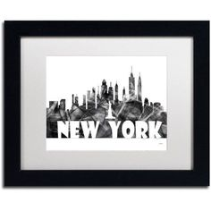 Trademark Fine Art 'New York New York Skyline BG-2' Canvas Art by Marlene Watson, White Matte, Black Frame, Size: 16 x 20, Gray