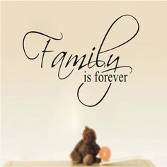 """""""Family is Forever"""" THIS ITEM IS CURRENTLY IN STOCK AND READY TO SHIP. A great piece of stick on wall art for the living room. Or anywhere family gatherings occur. Share your pride in your family with"""