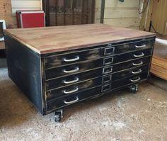 Vintage cole steel blueprint cabinet map drawer industrial coffee blueprint file malvernweather Choice Image