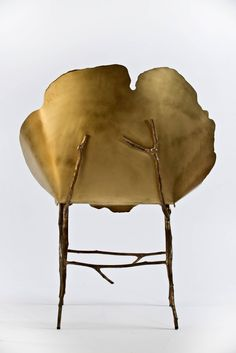 "Limited Edition Bronze and Acid Etched Brass ""Flor"" Side Chair 