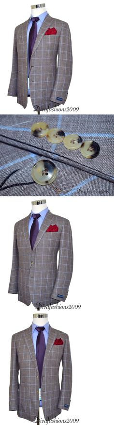 Blazers and Sport Coats 3002: New $898 Peter Millar Brown Blazer Plaid Linen Men S Sport Coat Jacket Size 40-R -> BUY IT NOW ONLY: $349.95 on eBay!