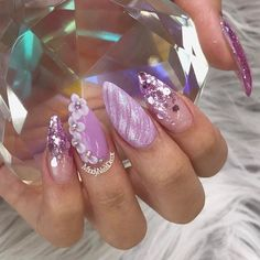 """1,150 Likes, 2 Comments - dailycharme (@daily_charme) on Instagram: """"Pretty nails by @mindynailsdecor  shop for featured glitter mix and Swarovski crystals at…"""""""