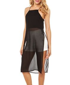 Transparent Cami Dress With Sides Vent