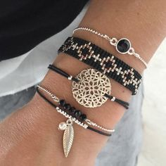 Beads-armbandje 'Black Diamonds' - Mint15