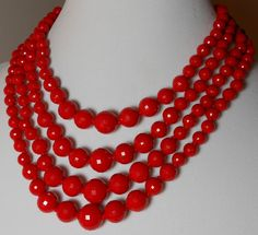 #janeiredaleHolidayParty Vintage West Germany Four Strand Red Faceted Bead Necklace.