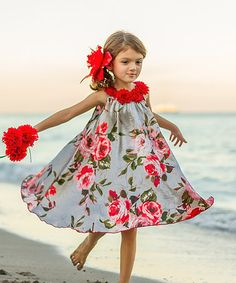 Look what I found on #zulily! Silver Floral Swing Dress - Toddler & Girls #zulilyfinds