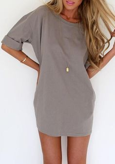 ZANZEA 2016 Summer Style Fashion Women Casual Loose Dress Sexy Ladies Short Sleeve Solid Color Mini Dresses Vestidos Plus Size ** You can find more details by visiting the image link. Sexy Dresses, Cute Dresses, Casual Dresses, Casual Outfits, Summer Outfits, Cute Outfits, Fashion Outfits, Mini Dresses, Style Fashion