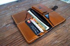 Handmade leather billfold wallet for women caramel by GalenUnique-SR