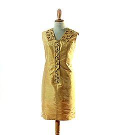 Unique 60s handmade gold Shantung silk Tweety by LaBellaEpoque, $35.00