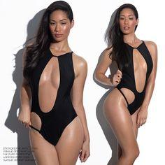 One Piece Black Cut Out Side Swimwear Swimsuit Bikini CleavageToned Body Blasian Asian Beauty Seoulfull3