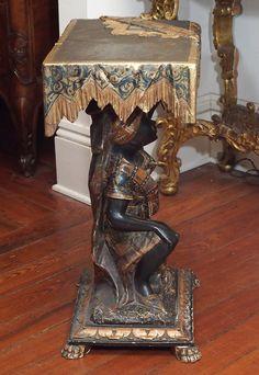 19th Century Venetian Polychrome Blackamoor Side Table