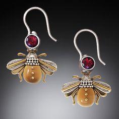Jenny Byrne Sterling Silver, 14kt Gold Fill, Garnet & Fossilized Walrus Tusk Earrings