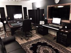 Music studio and basement living space ideas.