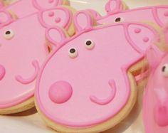 1 dozen Peppa Pig sugar cookies Custom cookies by OneStopSweets Pig Cookies, Iced Cookies, Cute Cookies, Sugar Cookies, Girl 2nd Birthday, Pig Birthday, Birthday Cookies, 2nd Birthday Parties, Peppa Pig Cookie