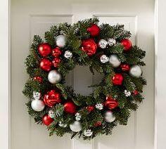 Indoor/Outdoor Ornament Pine Wreath - Red/Silver