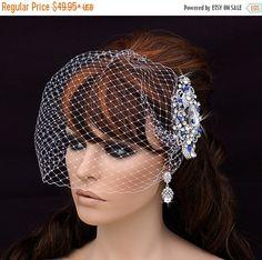 Birdcage Veil and Crystal Comb , Bird Cage Veil , Bridal Comb , Wedding Comb , Short Veil ,  Blusher , Something Blue , Cage Veil