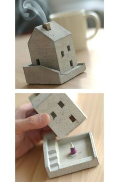 Little incense house by Japanese brand, Lodge. The smoke coming out of the chimney is from the incense cone inside - it's a little incense pot.How charming is this little house incense burner by Japanese brand, Lodge? Each house is made individually Clay Houses, Ceramic Houses, Ceramic Clay, Ceramic Pottery, Pottery Houses, Slab Pottery, Clay Projects, Clay Crafts, Diy And Crafts
