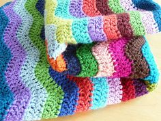 Soft Wave crocheted blanket from Jan Eaton's 200 Ripple Stitches. Must make at some point.