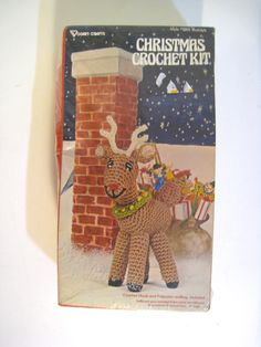 Vintage Christmas Crochet Kit. Vogart 3205 Rudolph Reindeer Amigurumi plush. hook, yarn and stuffing included. 9 inches finished size. by PickleladyVintage on Etsy