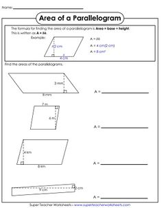 printable area of parallelogram worksheet teacher stuff pinterest worksheets math and. Black Bedroom Furniture Sets. Home Design Ideas